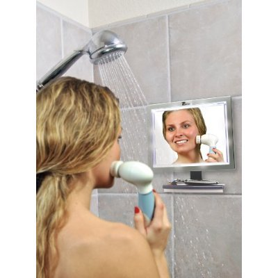 fogless shaving mirror for shower