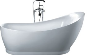 hi-back pedestal modern stand alone bathtub